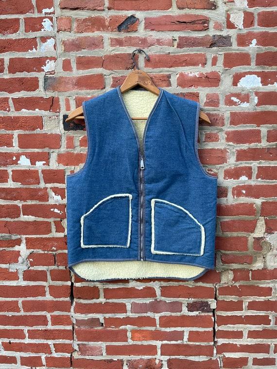 Vintage Denim Sherpa Lined Vest Super Soft Denim V