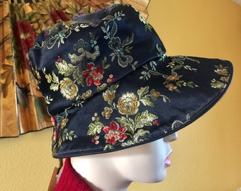 1e63bf03e59a0d Floral Embroidered Cloche Hat Bucket Louise Green Designer Satin Silk Asian  Chinese Japanese Formal Retro 1920s Flapper Accessory Black Rose