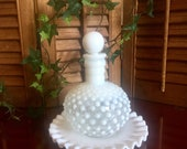 Princess Hobnail Vanity Bottle White Glass Perfume Ruffled Tray Lace Stopper Cap Essential Oils Wedding Bathroom Art Decor Fenton 1940s Jar