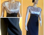 Metallic Silver Pencil Dress Retro Flapper Pleated Bodice Fitted 1940s Evening Black Cocktail Party Formal Graduation Sweet 16 Patent Belt