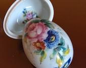 Limoges Proposal Trinket Ring Box Rose Bouquet Floral Porcelain Egg Casket Hand Painted France Signed House Of Goebel Vanity Display