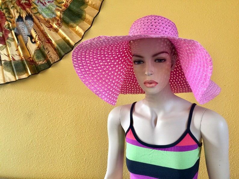 Wide Brim Floppy Sun Hat Faux Straw Blue Woven Crochet Pink Foldable Summer Vacation Traveler Picnic Beach Retro Wedding Cocktail Birthday