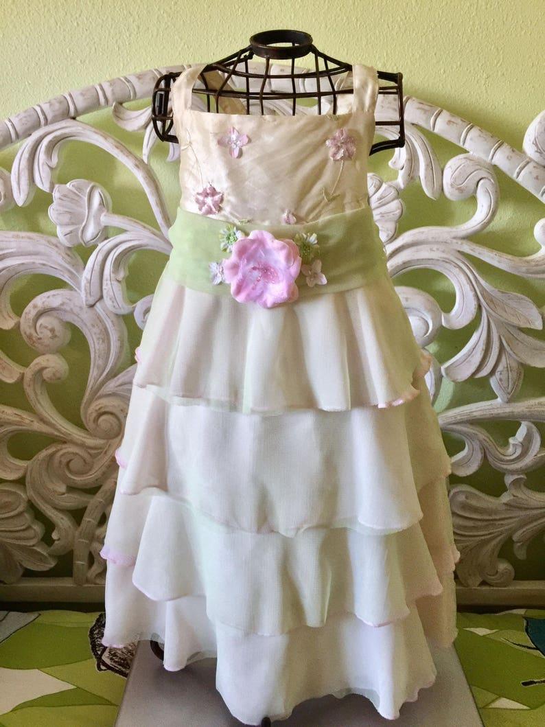 51bd9a644a3 Pastel Green Fairy Garden Pink Roses Flower Girl Dress Layered