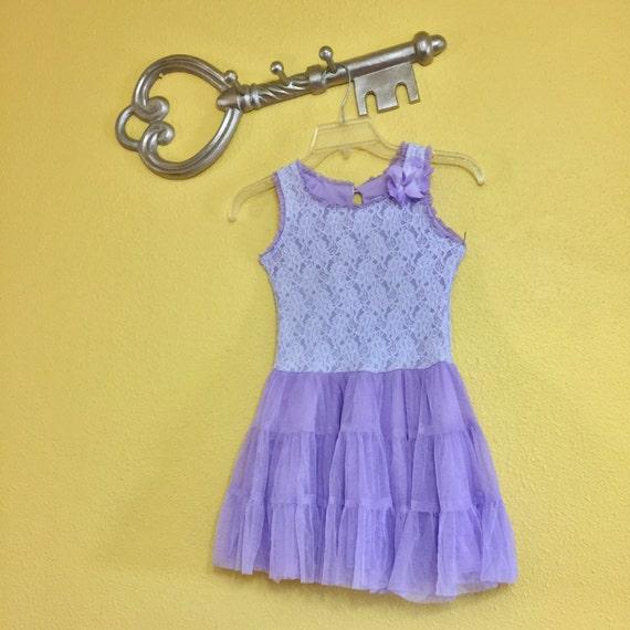 French Lavender Mesh Lace Girl Dress Tutu Formal E