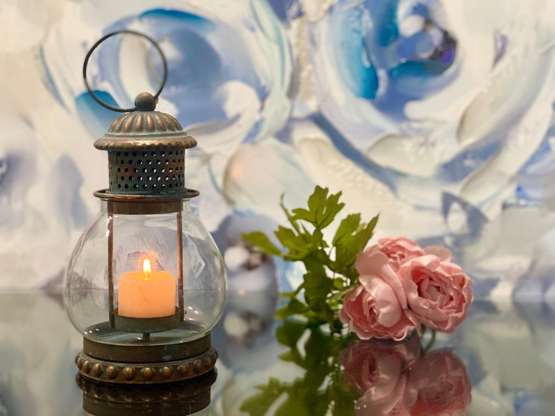 Hanging Glass Lantern Rustic Metal Candle Holder Tealight image 0