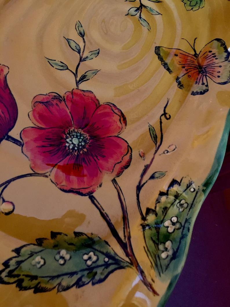 Yellow Platter Ceramic Red Poppy Flower Large Appetizer Dish Rectangular Retro Centerpiece Party Snack Tray Fruit Wedding Bridal Shower Gift