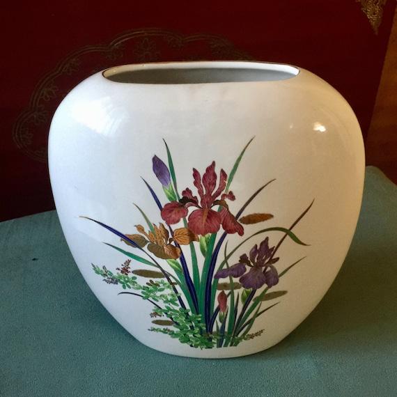 Japanese Porcelain Oval Vase Iris Floral Flat Shape Fine China Etsy