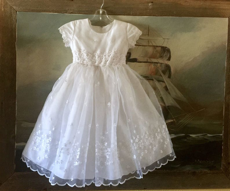 d1de30948 White Lace Toddler Baptism Dress Flower Girl Layered Organza   Etsy