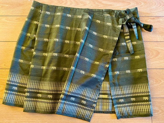 Elephant Thai Silk Mini Wrap Skirt Green Folk Indi
