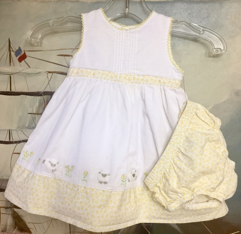 9ed9826dc2 Infant Baby Dress Diaper Cover 6 month Girl White Yellow | Etsy