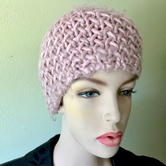 Pastel Pink Dusty Rose Crochet Hat Knitted Beanie
