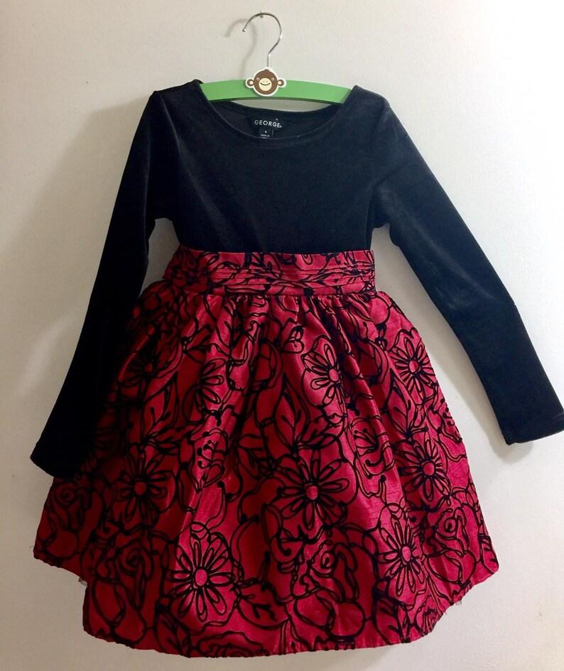 d6c8433ce66f Black Red Velvet Flower Girl Dress Brocade Embroidery Toddler | Etsy