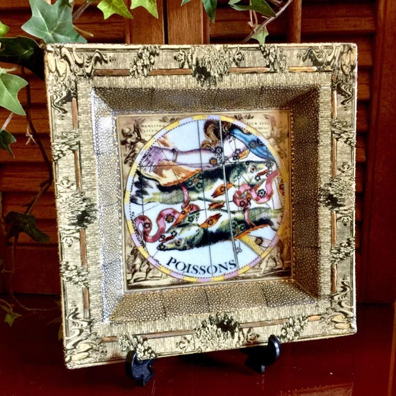 Pisces Horoscope Plate Ceramic Gilded Art Baroque