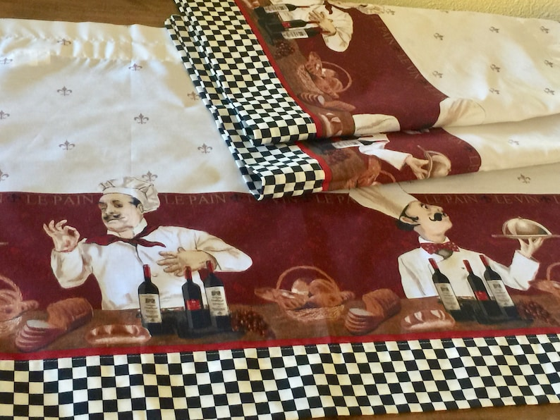 French Fat Chef Kitchen Curtains Fabric Window Fleur De Lis Checkered Country Cottage Italian Cafe Restaurant Diner Table Cover Wine Serving
