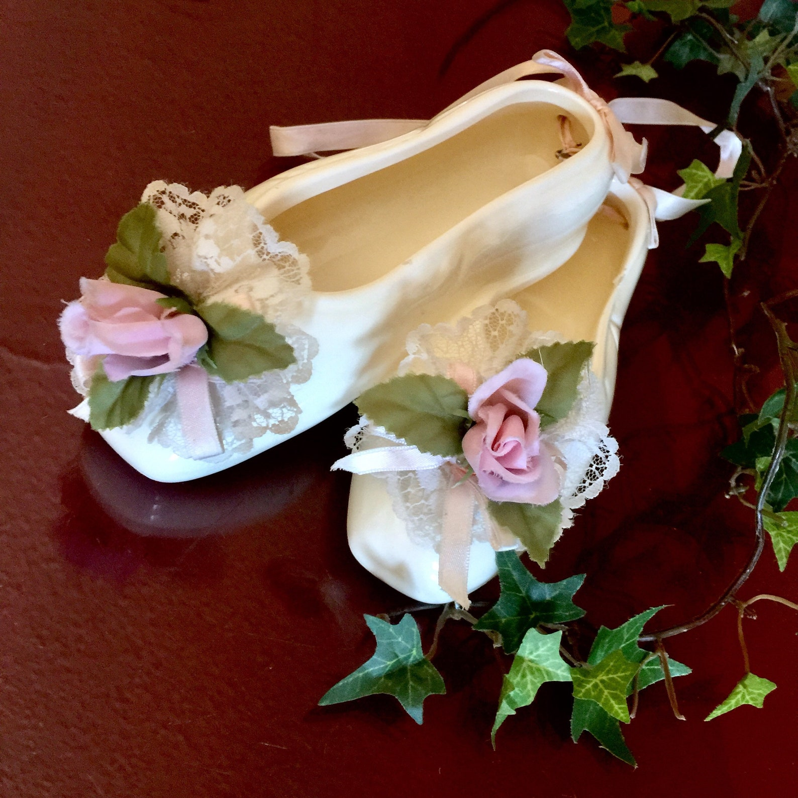 ballerina shoes ceramic rose lace victorian wall art decor ballet dance teacher gift birthday girl memorabilia pink ribbon hangi