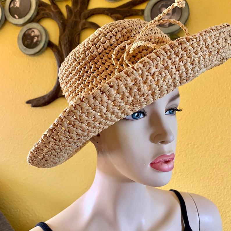 b12a9646 Scala Italian Straw Hat Natural Fiber Straw Womens Rolled Brim   Etsy