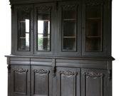 Antique Vintage Glazed Painted Black Bookcase Dresser Display Cabinet Unit