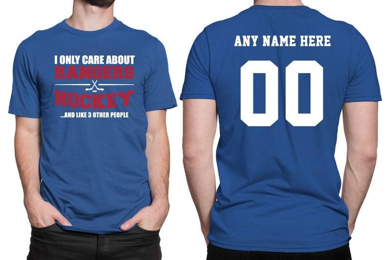 quality design 85b6e eec35 New York Rangers Hockey Shirt *Custom Name/Number on back* - Rangers Hockey  - Great Christmas Gift - Ultimate Hockey Fan - Team Pride BD-NYR