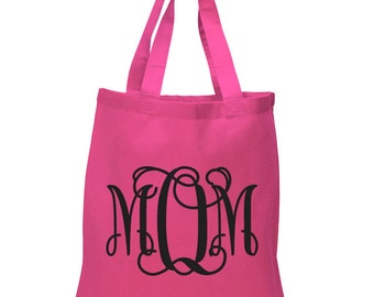 Mom Monogram Tote Bag - Mom - Gift for Mom - Mothers Day - Cool Mom - Awesome Mom - Stylish Tote - Cotton Tote Bag - Great Gift Idea BD-714