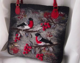 Felted women bag handbag, Bullfinches, Felted wool purse, Felted purse, Art handbag, Natural Leather, Felt bag, Red,Black