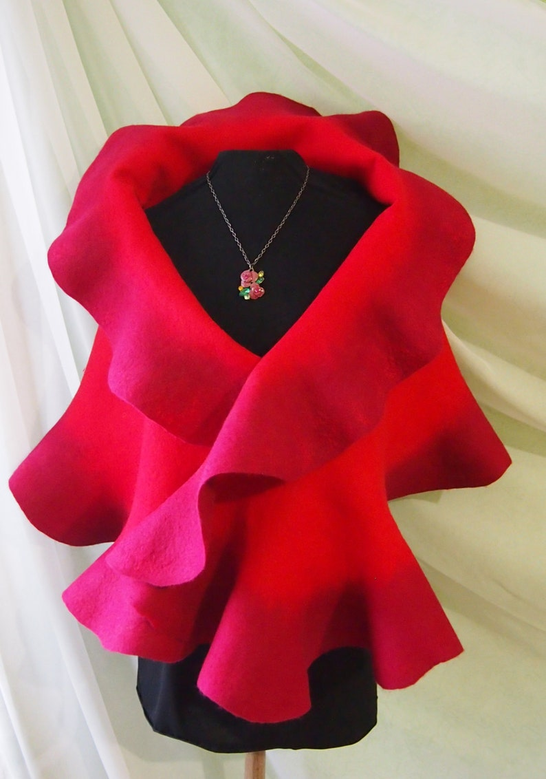 Felted Wool Scarf Red Wool Scarf Felted Scarves Felted Etsy