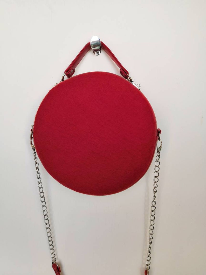 Valentine gift Red leather circle bag Small round crossbody  98e47bb0ab557