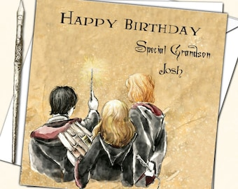 Personalised Harry Potter Inspired Birthday Card Nephew Grand Son Daughter