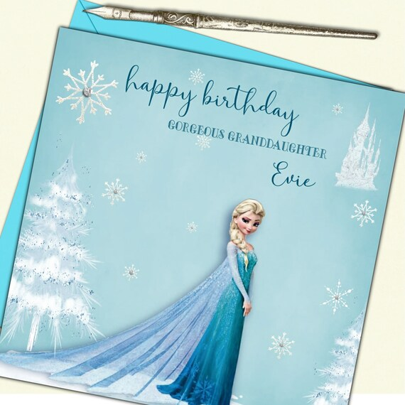Marvelous Personalised Frozen Birthday Card Elsa Etsy Funny Birthday Cards Online Barepcheapnameinfo