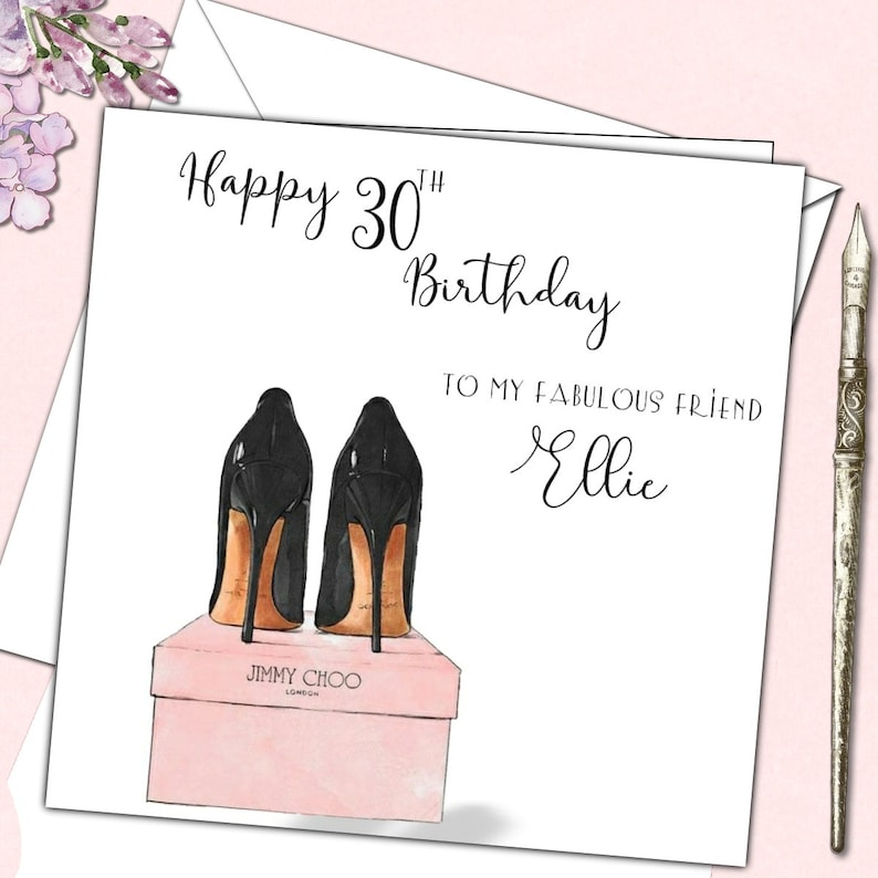 8e81a826b8b8 Personalised Birthday Card Jimmy Choo Shoes Mother Daughter