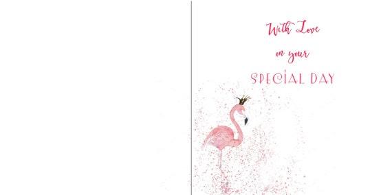 Daughter Girls Pink Flamingo 4th Birthday Card Grandaughter Friend