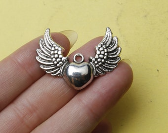 Winged Heart Charms  large angel wing / Love charms 37x27mm