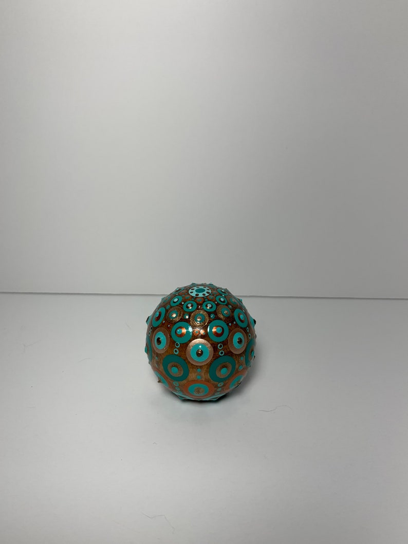 Copper and Gold Metallics. Hand Painted Dot Art 2\u201d Wood Sphere with Hand Painted Dot Mandala in Teals
