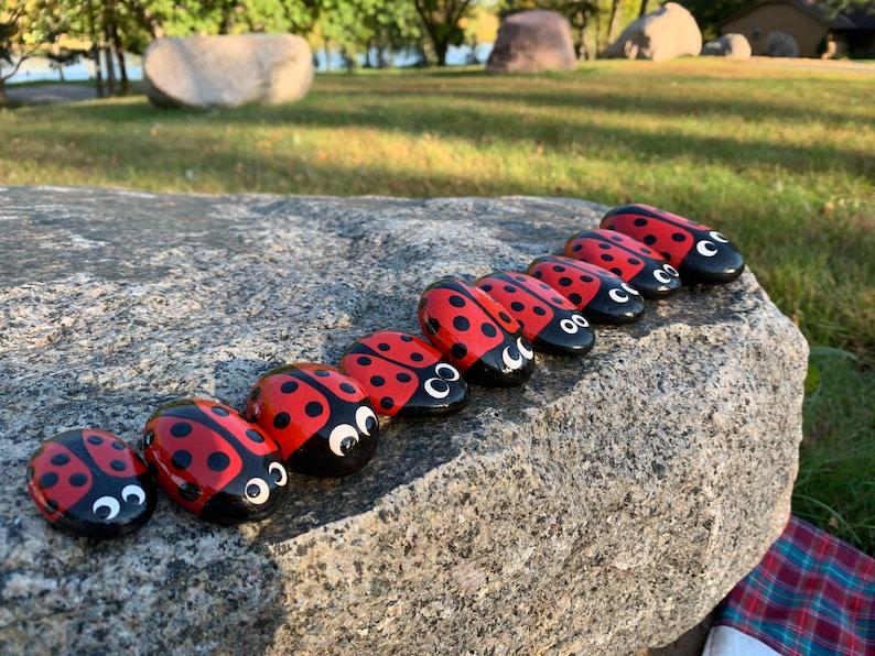 Ladybug Gift Hand Painted Ladybug Art Hand Painted Rock Hand Painted Ladybug Rock with Acrylic Paint