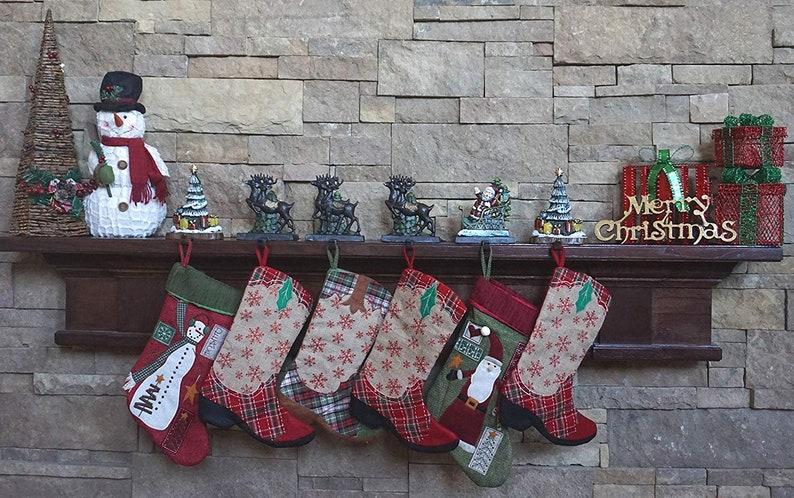 100/% Cast Iron Santa Claus /& 3 Reindeer/'s Decorative Christmas Stocking holders Plus 2 Trees 8 6 strong hooks