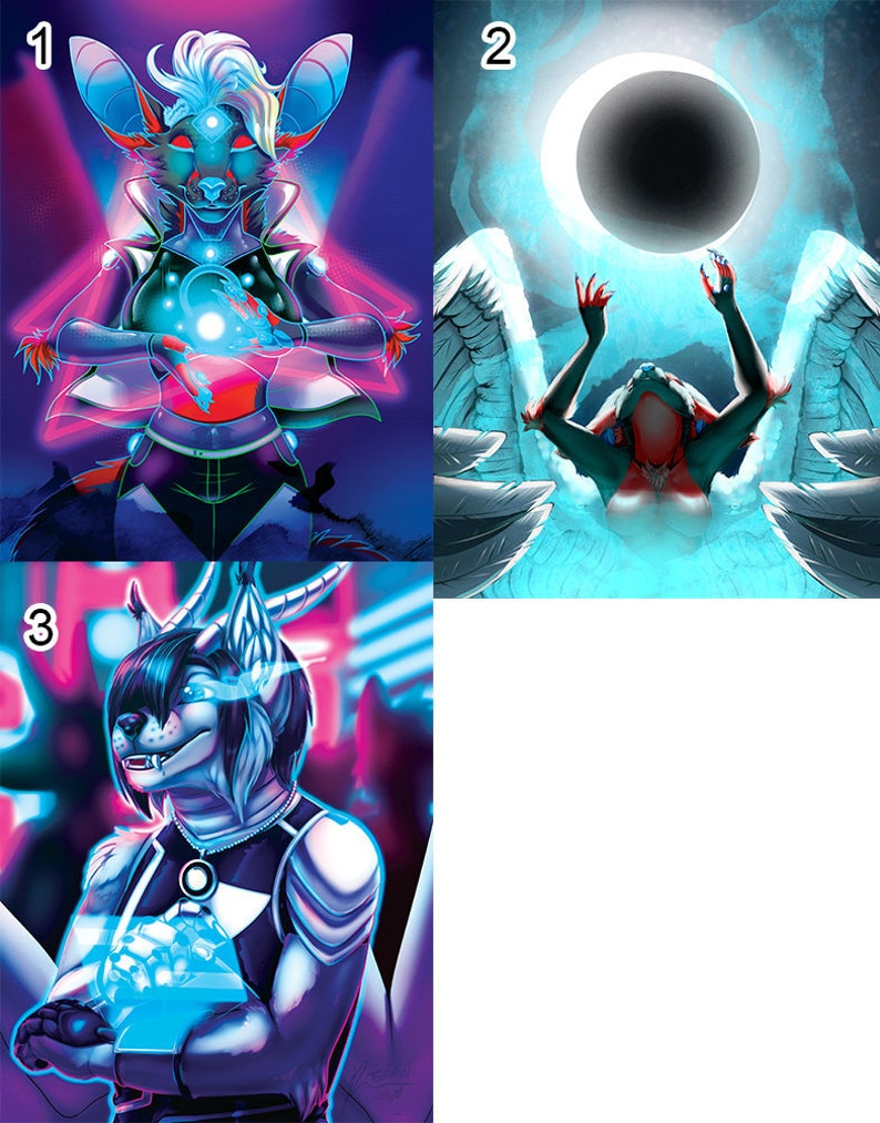 Cyberpunk and Magic Poster Prints  Furry Anthro Scifi Fantasy image 0