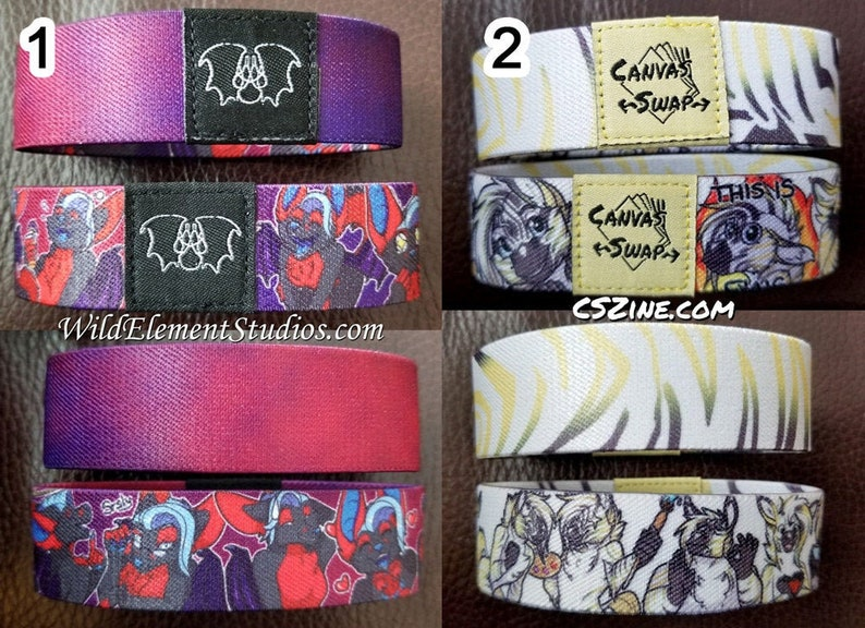 Double Sided Elastic Wristbands  Cute Anthro Furry Fantasy image 0
