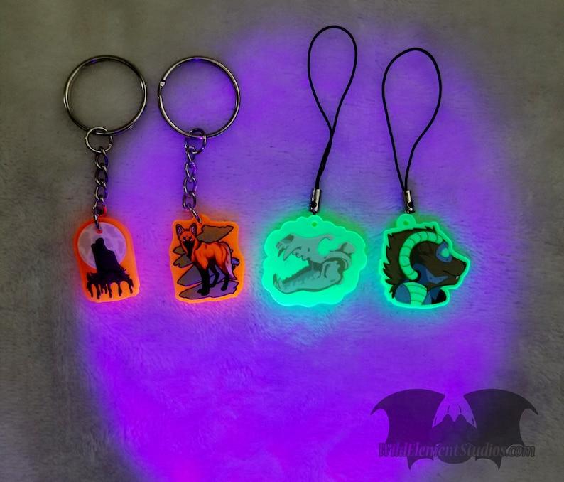 Acrylic Charm  Blacklight UV Reactive Keychain Wolf moon howl image 0