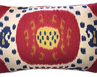 Brunschwig & Fils Samarkand Ikat Bolster Pillow. Down Feather Insert Included.