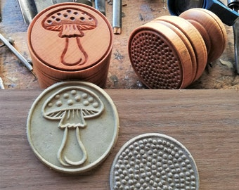 """MUSHROOM CORZETTI PASTA Stamp = 1 Handle + 1 """"Mushroom"""" Stamp handturned, handcarved, in Maple Chiantishire, only my hands & gouges"""