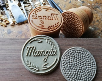 MANGIA Corzetti Pasta Stamp, Handturned, handcarved in Tuscan Beech wood from Casentino area, Florence, Tuscany, Italy
