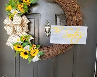 "Grapevine ""The Johnson"" sunflower wreath"