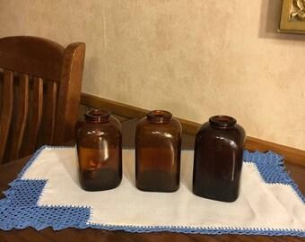 Snuff Jars Vintage Brown