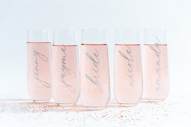 Bridesmaid Stemless Champagne Glasses/Flutes  Wedding Party image 1