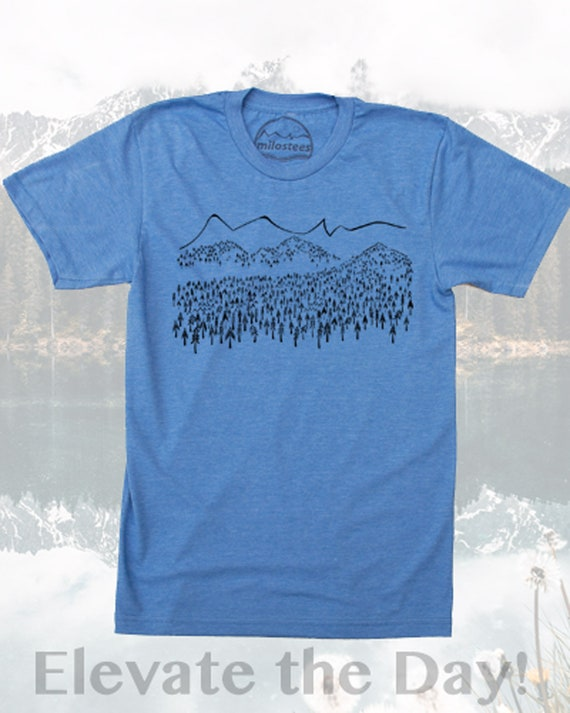 Mountain T shirt, wilderness print on soft plum tee in a 5050 blend awesome for adventure or casual wear wonder T shirt for nature hikes!