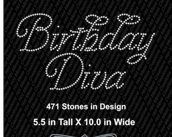 Birthday Diva Rhinestone Design Digital Download