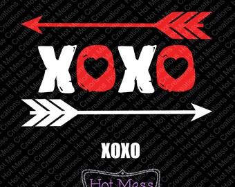 XOXO SVG - Valentine SVG - Valentine Design - Love svg - hugs and kisses - hugs svg - kisses svg - arrow svg - svg Digital Download