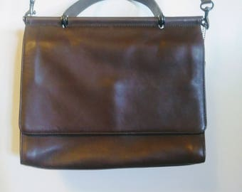 Vintage Coach Chocolate Brown  Leather Canadian  Crossbody Purse