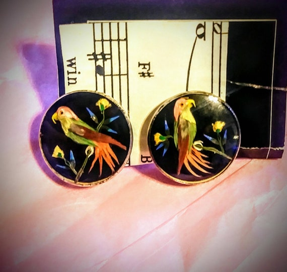 Vintage Onyx Bird Earrings