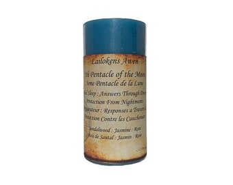 """Lailokens Awen - 5th Pentacle of the Moon - Restful Sleep, Answers Through Dreams, Protection from Nightmares 2"""" x 4"""" Scented Spell Candle"""