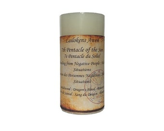 """Lailokens Awen - 7th Pentacle of the Sun - Unbinding 2"""" x 4"""" Scented Spell Candle"""